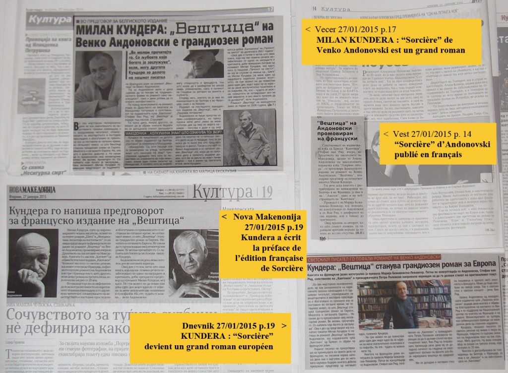 Revue de presse papier Skopje 27/01/2015